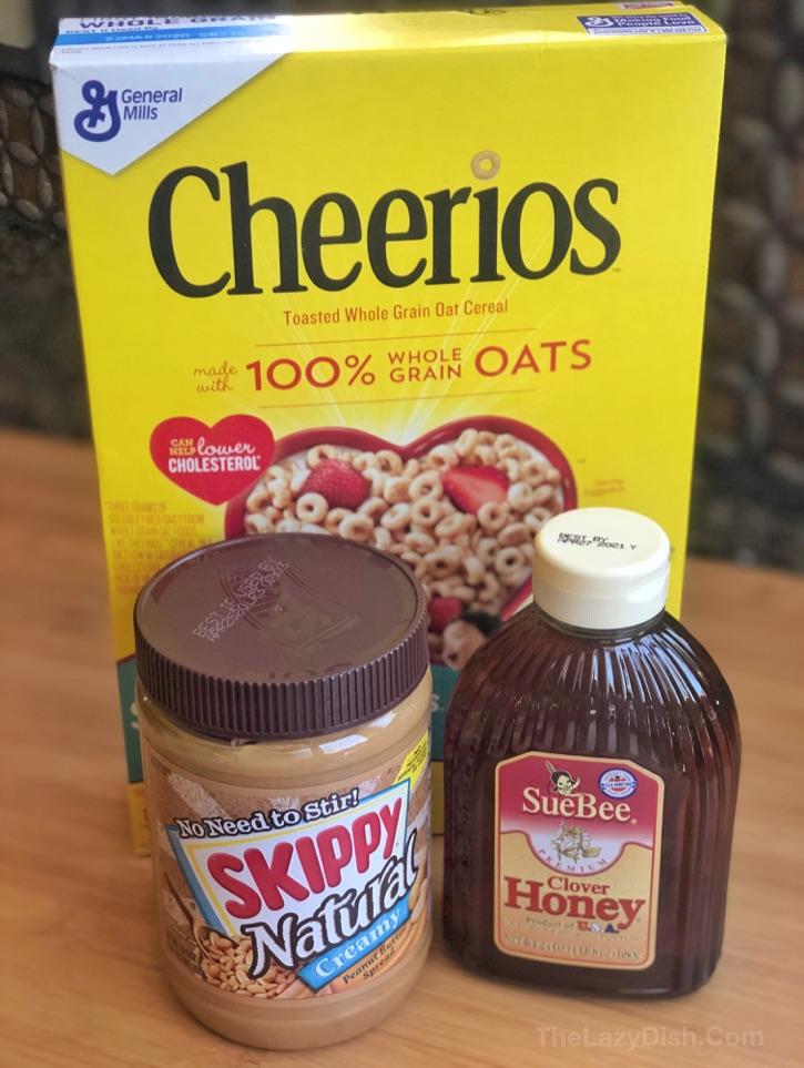 Barras Cheerio de mantequilla de cacahuete de 3 ingredientes
