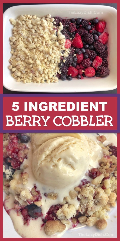 Quick & Easy Berry Cobbler Recipe made with frozen fruit, oats, cake mix walnuts and butter. Looking for easy dessert recipes? This homemade crisp berry cobbler is always a crowd pleaser! It's basically a dump cake and made in one pan with 5 simple ingredients. The Lazy Dish #thelazydish #berrycobbler #dessertrecipes #dumpcake