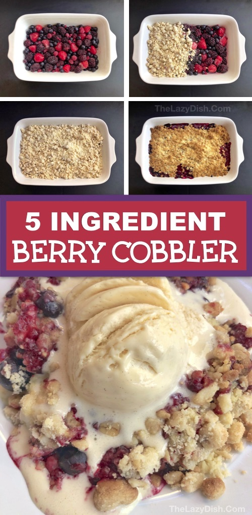 Quick & Easy Berry Cobbler Recipe made with frozen fruit, cake mix, oats, walnuts and butter. Looking for easy dessert recipes? This homemade crisp berry cobbler is always a crowd pleaser! It's basically a dump cake and made in one pan with 5 simple ingredients. The Lazy Dish #thelazydish #berrycobbler #dessertrecipes #dumpcake