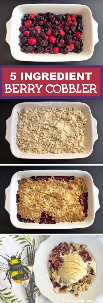 Easy Berry Cobbler Recipe made with frozen fruit, oats, cake mix walnuts and butter. Looking for quick and easy dessert recipes? This homemade crisp berry cobbler is always a crowd pleaser! It's basically a dump cake and made in one pan with 5 simple ingredients. The Lazy Dish #thelazydish #berrycobbler #dessertrecipes #dumpcake