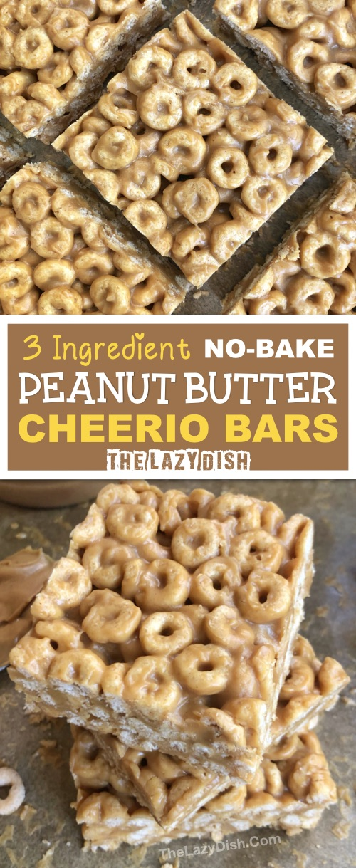 No Bake 3 Ingredient Peanut Butter Cheerio Bars - A healthy snack or on the go treat made with honey, peanut butter and Cheerios! A quick and easy kids snack idea. #thelazydish #snackideas #cheerios #peanutbutter