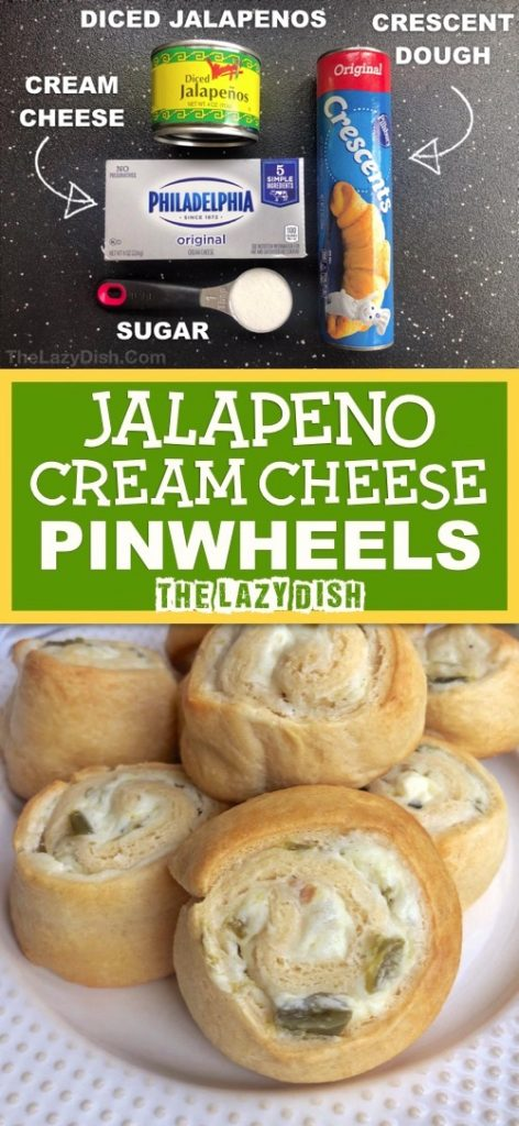 Jalapeño Cream Cheese Pinwheels Appetizers - Quick and easy snack idea for a party! A sweet and spicy finger food everyone will love. Made with just 4 simple ingredients! The Lazy Dish #thelazydish #gameday #appetizers #pinwheels #funsnacks #lazyfood