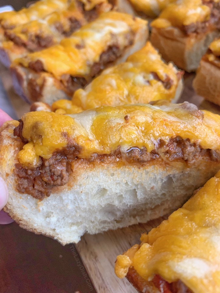 Sloppy Joe French Bread Pizza Slices - quick and easy! 5 Ingredients.