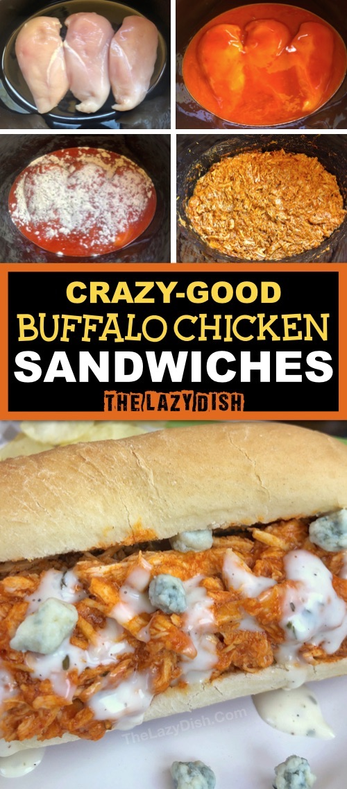 4 Ingredient Crockpot Shredded Buffalo Chicken Sandwiches -- Looking for easy slow cooker chicken recipes? This one is a keeper and made with simple ingredients! It's great for lunch, dinner and parties-- game day! The Lazy Dish #thelazydish #crockpot #buffalochicken #slowcooker