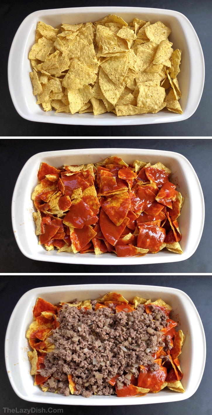 Quick and easy dinner idea for the family! Lazy Enchiladas Casserole Recipe