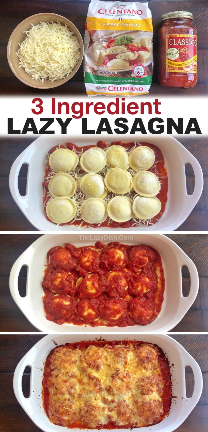 My picky kids love this simple 3 ingredient meal! Lazy lasagna (A.K.A. Baked Ravioli) is a staple in my house. It's the perfect last minute dinner recipe for busy weeknight meals with your family. Plus, it's made with just 3 ingredients that are all cheap and keep for a long time! Plus, it's just as good leftover, so you can even get 2 or more meals out of it. It's vegetarian, but you could also add ground beef and anything else you'd like to the layers like veggies or ricotta cheese. Yummy!