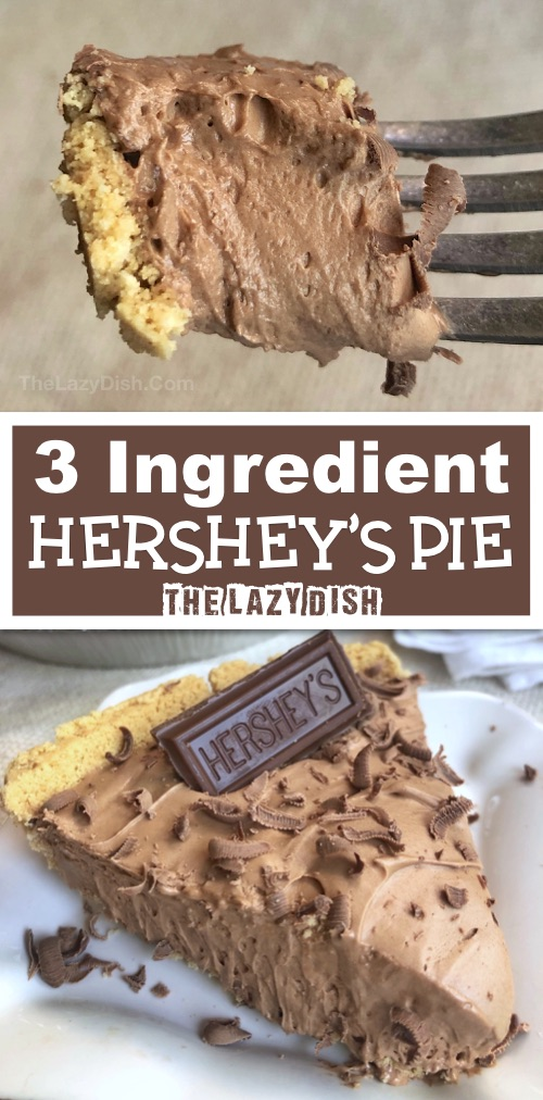 3 Ingredient No Bake Chocolate Pie - Looking for quick and easy dessert recipes? This one is always a crowd pleaser. Made with Cool Whip, Hershey's and a graham cracker crust. The Lazy Dish #thelazydish #chocolate #lazyfood #pie