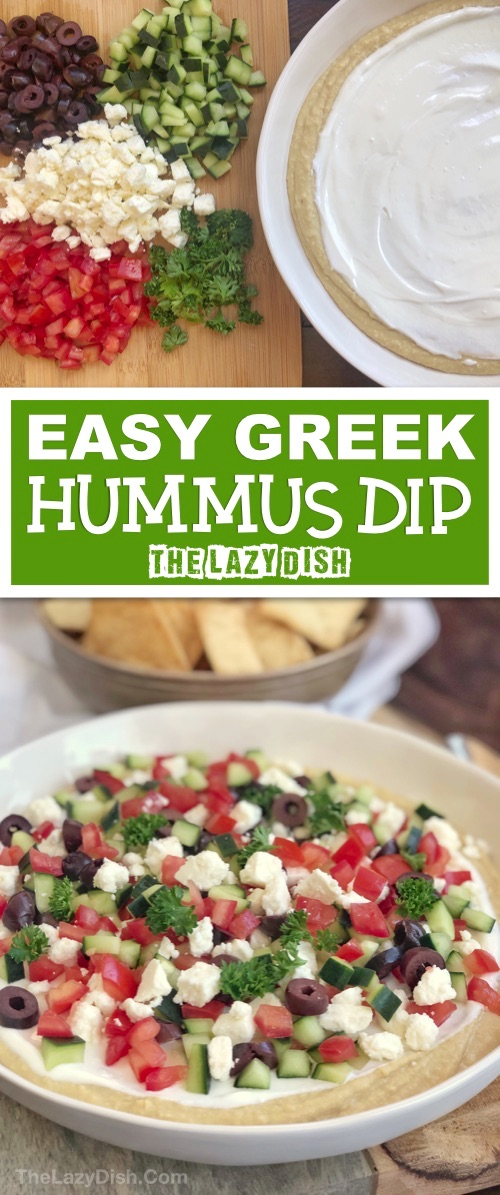 Healthy 7 Layer Greek Hummus Dip | Looking for quick and easy cold appetizers for a crowd? This simple dip recipe can be made ahead, and is always a hit! It's perfect for a party or everyday snack. Serve it with pita chips! The Lazy Dish #thelazydish