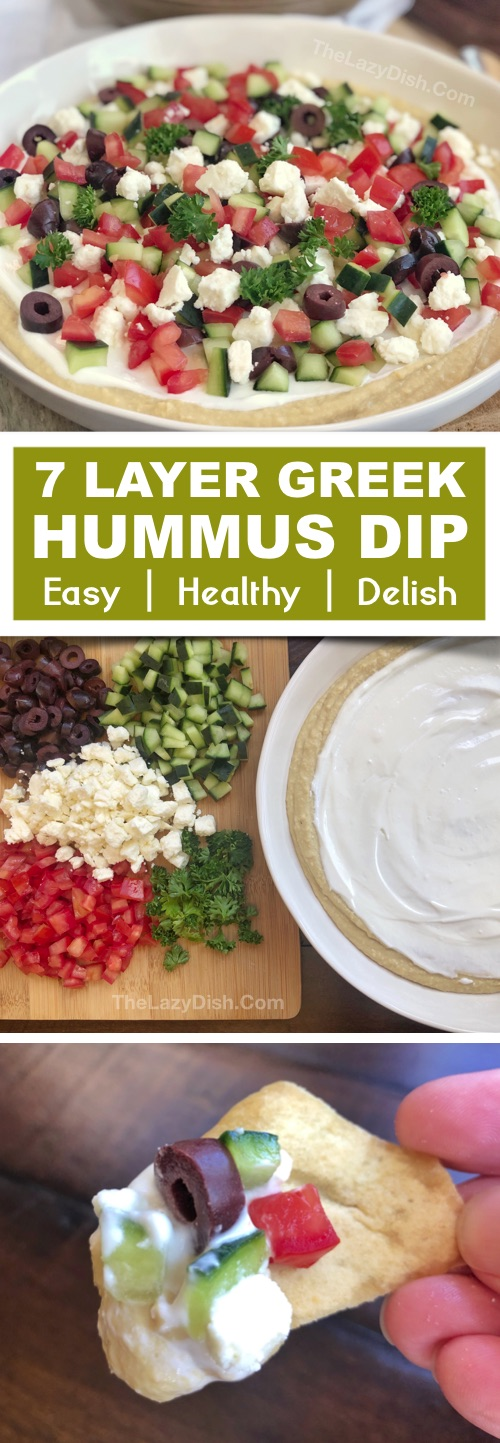 Quick and easy cold party dip recipe: 7 Layer Greek Hummus Dip -- perfect for a crowd. This last minute appetizer idea is always a hit! It's made with hummus, greek yogurt and topped with veggies and herbs! #thelazydish