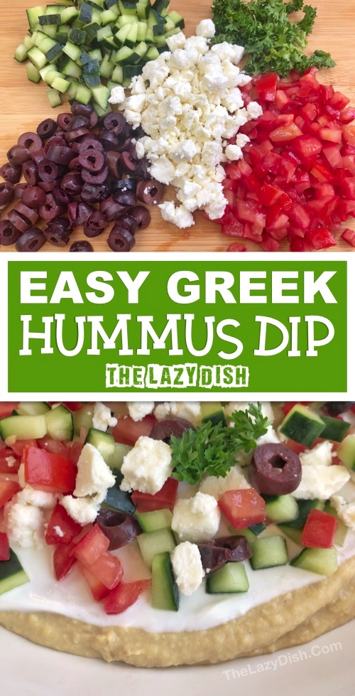 7 Layer Greek Hummus Dip Appetizer | Looking for quick and easy cold appetizers for a crowd? This simple dip recipe can be made ahead, and is always a hit! It's perfect for a party or everyday snack. Serve it with pita chips or naan! The Lazy Dish #thelazydish #lazyfood