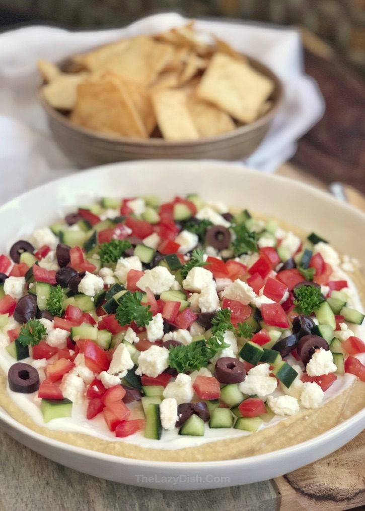 7 Layer Greek Hummus Dip - super easy appetizer idea for a crowd! Healthy, vegetarian, simple and quick!