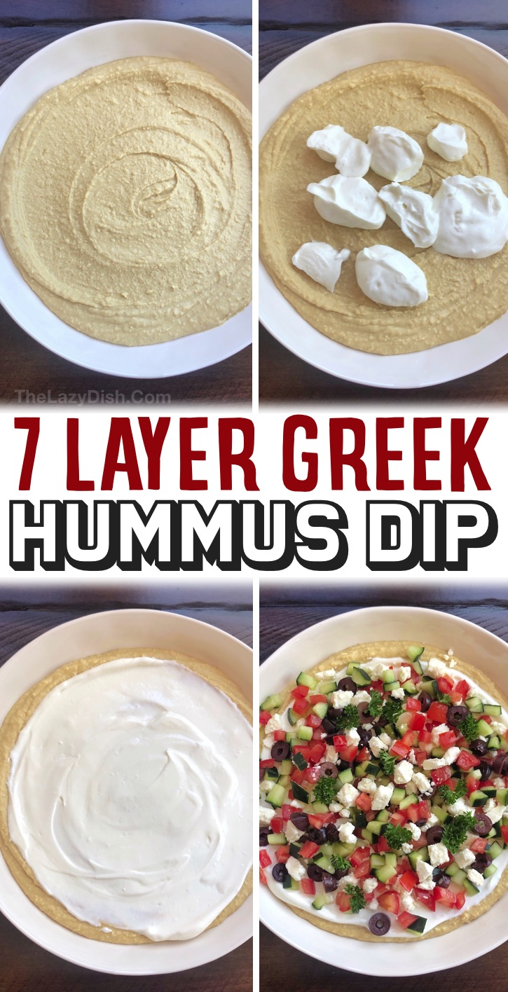 Make Ahead Cold Party Appetizer For A Crowd - This 7 layer greek hummus dip is a breeze to throw together for parties! You can seriously just whip it up last minute. Simply top store-bought hummus with plain greek yogurt and the greek inspired veggies of your choice like tomato, cucumber, olives and feta. Serve cold with pita chips! It's super yummy, yet healthy and vegetarian. A real crowd please for just about any occassion: Mother's day, birthdays, baby showers, holidays, or any party! The best make ahead party dip for a crowd.