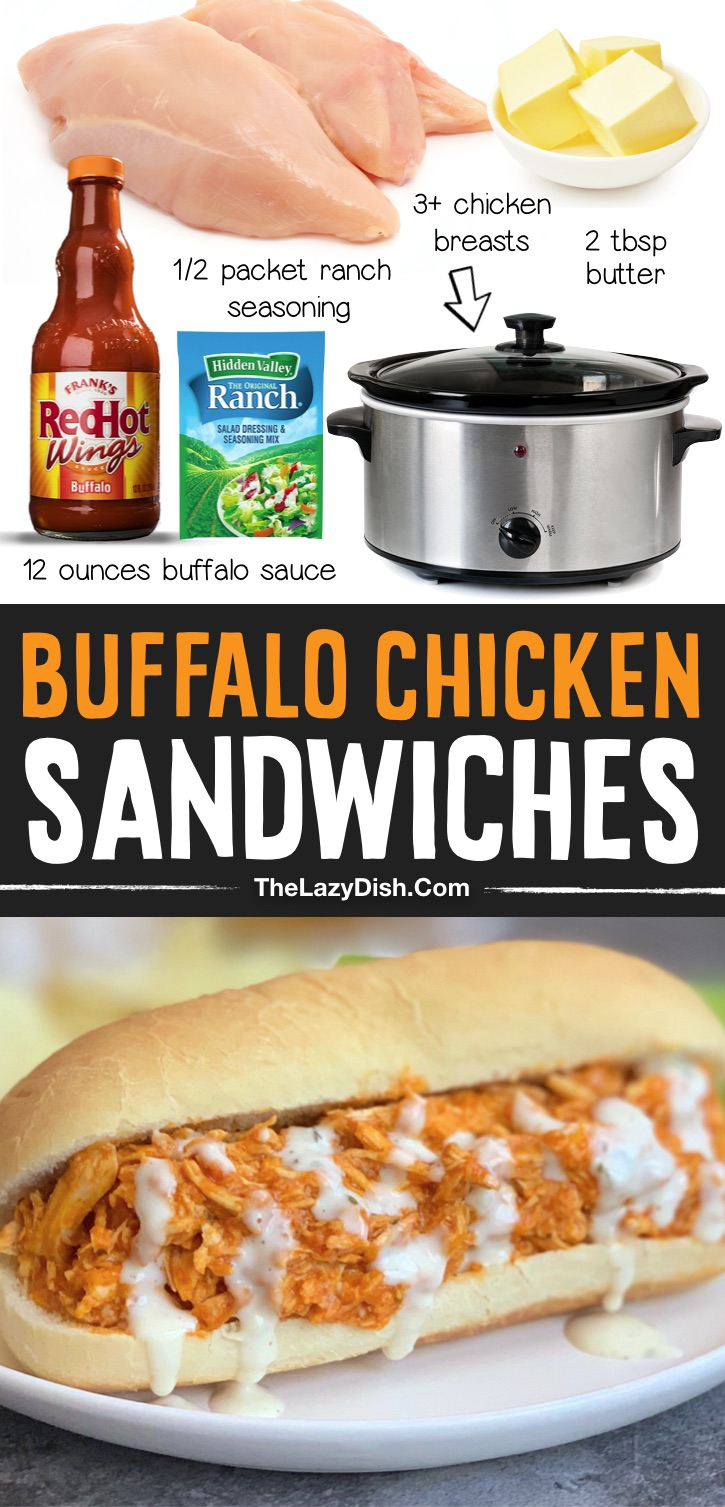 Easy Crockpot Buffalo Chicken Sandwiches made with just 4 ingredients! This simple slow cooker chicken recipe is a family favorite dinner recipe. It's so easy to throw together on busy weeknights and is always a hit! Serve this shredded chicken in a sandwich bun, on a potato, or over a salad to make it low carb. It's made with just buffalo wing sauce, ranch seasoning and butter. So yummy! Great for family get-togethers, game night and football parties, too. Just double or triple the recipe to feed a crowd. Some serious comfort food.