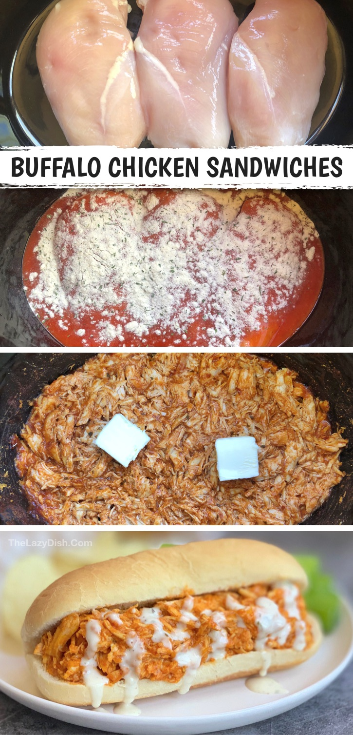 Looking for easy chicken crockpot recipes for dinner or lunch? This shredded buffalo chicken is made with just a few ingredients: chicken breasts, buffalo sauce, ranch seasoning and butter. So yummy! Serve in a sandwich or over a salad to make it healthy and low carb. So simple to make in your slow cooker! Looking for something quick and easy? Try using your instant pot for this chicken recipe as well! Your husband or boyfriend is going to love this spicy chicken recipe. #chicken #thelazydish
