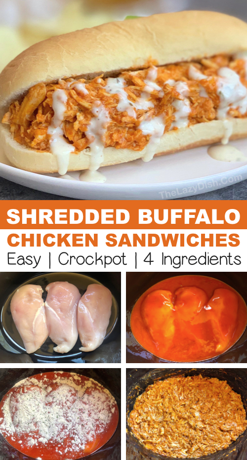 Easy crockpot chicken recipe: shredded buffalo chicken made with just 4 simple ingredients! The best slow cooker meal for busy weeknights! Yum. #thelazydish