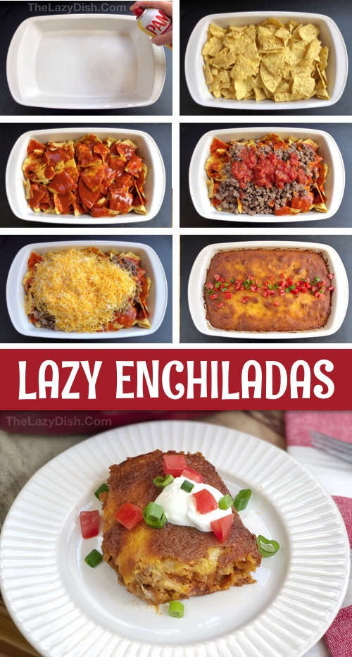 Lazy Enchilada Casserole -- Quick and easy dinner idea for busy weeknight meals! The entire family will love this simple main dish made with ground beef, cheese, chips, salsa and enchilada sauce. #thelazydish