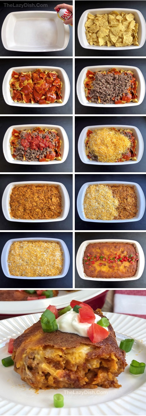 Lazy Enchilada Casserole made with 6 simple ingredients: ground beef, cheese, enchilada sauce, salsa, chips and onion. This quick and easy dinner recipe is great for the whole family! Kids love it, too. The Lazy Dish #thelazydish #lazyfood