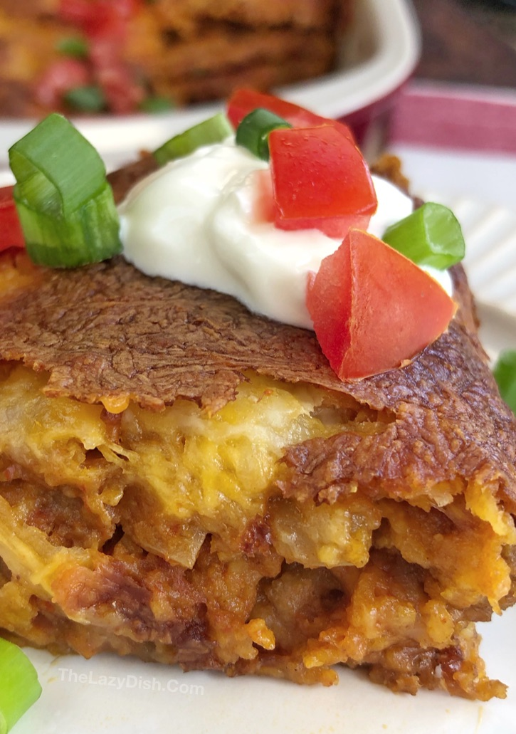 Lazy Enchilada Casserole - A quick and easy dinner idea made with ground beef and other simple ingredients!