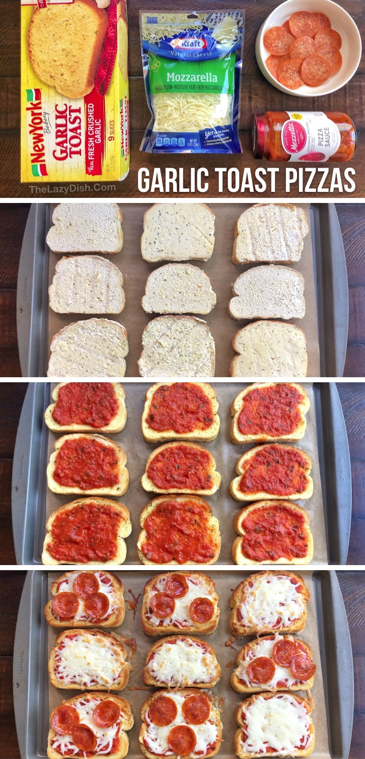 A fun and simple dinner idea for the family! Made with just 3 basic ingredients including frozen garlic toast, pizza sauce, cheese and then the toppings of your choice like pepperoni. They are perfect for busy weeknights or for lunch on the weekends when you don't have anything planned. Kids LOVE these easy garlic toast pizzas! Easy enough for the older kids and teenagers to even make themselves. Really budget friendly, too. Can be thrown together in no time on busy weeknights. So yummy!