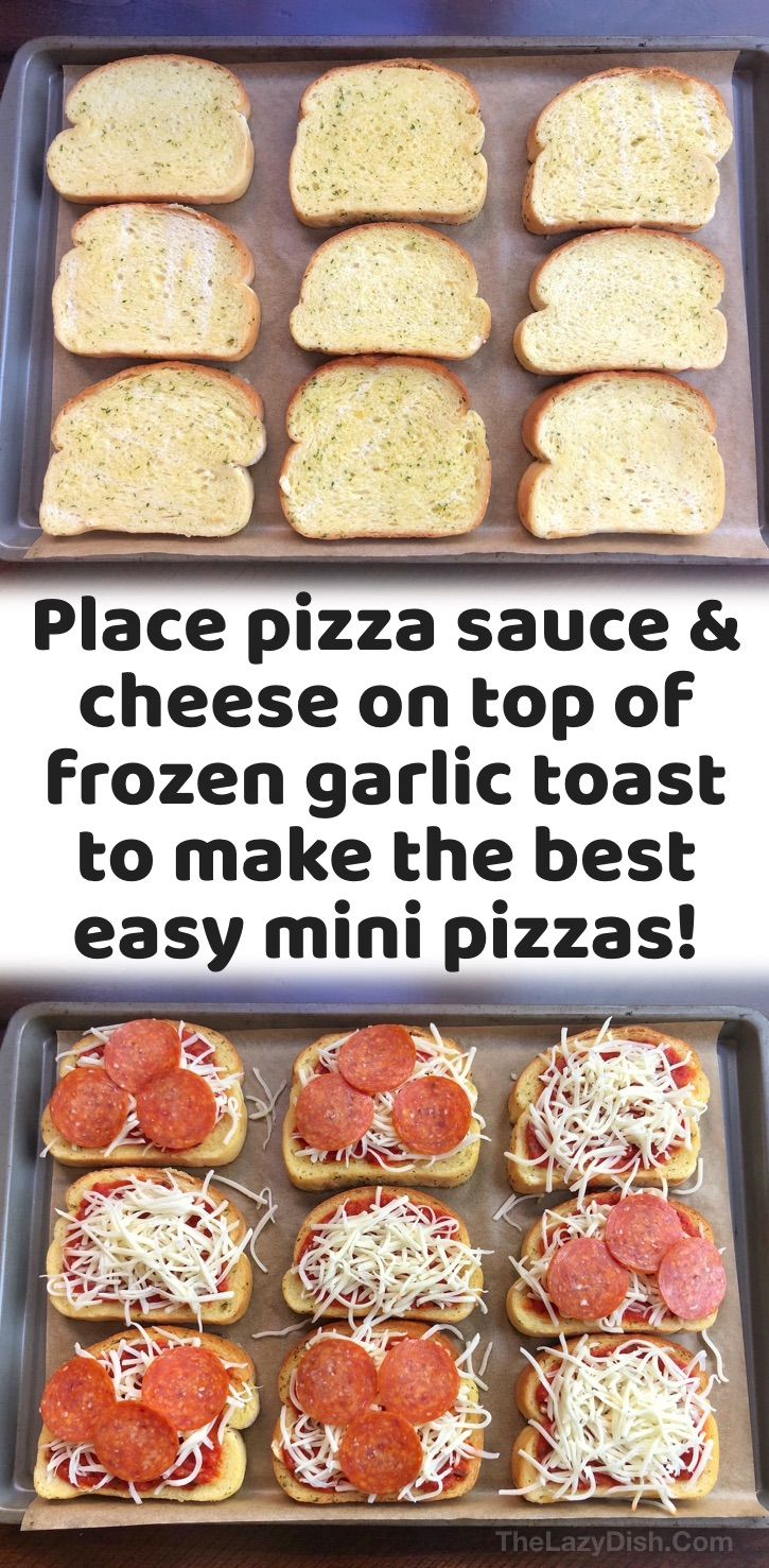 Easy Dinner Recipes For Kids | Your picky eaters are going to love these quick and easy frozen garlic toast pizzas! They are so simple to make, even the kids can make them themselves. They're perfect for last minute dinner ideas, and they can be made meatless or with the toppings of your choice such as pepperoni, olives, peppers, and more! If you're looking for cheap and simple dinner ideas, it doesn't get any easier than this. Serve alone or with a healthy salad. So yummy and fast to make!