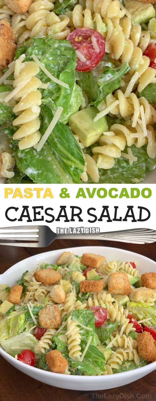 Easy potluck recipe for a crowd! This quick pasta caesar salad recipe is always a hit. It's so simple, you can toss it together in no time, and it's the perfect party food on a budget. If you are looking for easy potluck ideas, this is it! The Lazy Dish #thelazydish #potluck #partyfood #pastasalad