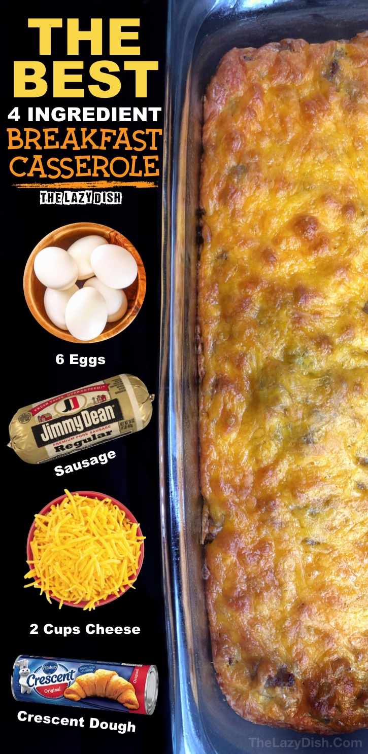 4 Ingredient Sausage Breakfast Casserole - Looking for quick and easy breakfast ideas? The entire family will love this one! Even the kids. It's made with cheap and simple ingredients: sausage, eggs, cheese and crescent dough. The Lazy Dish #thelazydish #breakfastcasserole #sausage