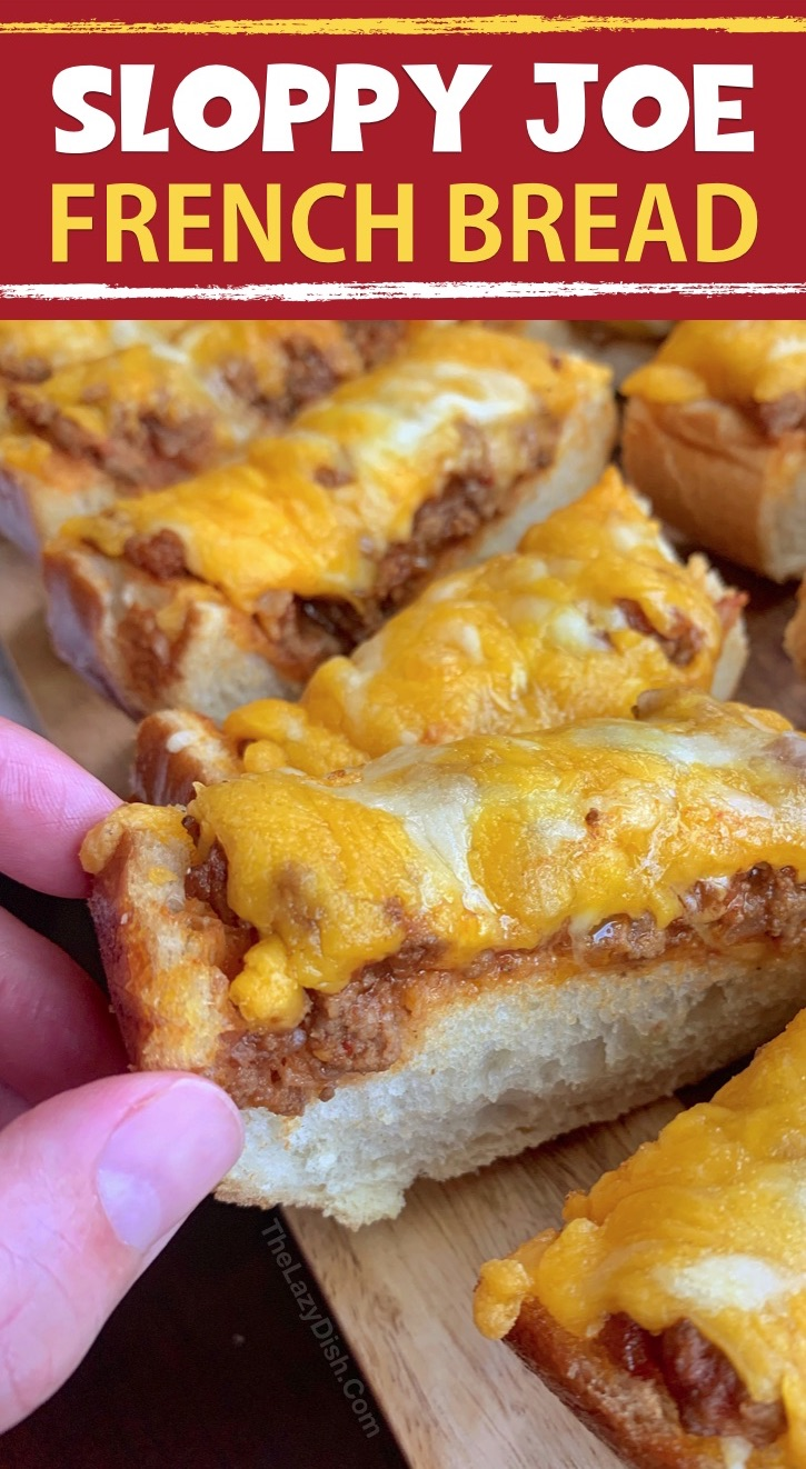 Sloppy Joe French Bread Slices - This super quick and easy appetizer or snack idea is made with just 5 simple ingredients! It's cheap, tasty and a real crowd pleaser! You can also serve it for lunch or dinner with a side salad. The Lazy Dish #thelazydish #gameday #footballparty #sloppyjoe #appetizers #groundbeef