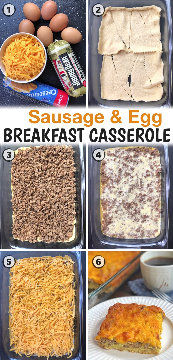 Looking for easy breakfast ideas with eggs? You can't go wrong with a breakfast casserole! Especially this cheesy sausage casserole made with just 4 ingredients including breakfast sausage and Pillsbury crescent rolls. It's perfect for family gatherings or anytime you have a crowd for breakfast. I serve it every year over the holidays and for special occasions like birthdays. It's so simple and cheap to make with just a few ingredients. My entire family loves it, including my picky kids!