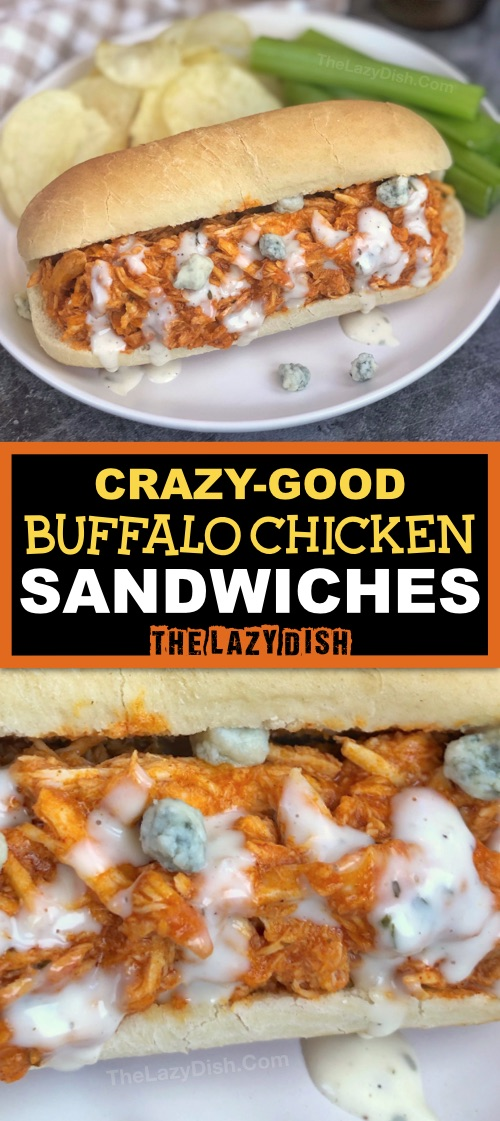 4 Ingredient Crockpot Shredded Buffalo Chicken Sandwiches -- Looking for easy slow cooker chicken recipes? This one is a keeper and made with simple ingredients! It's great for lunch, dinner and parties-- game day! The Lazy Dish #thelazydish #crockpot #buffalochicken