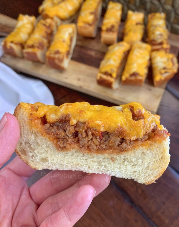 Quick & Easy Sloppy Joe French Bread Slices - perfect for game day!