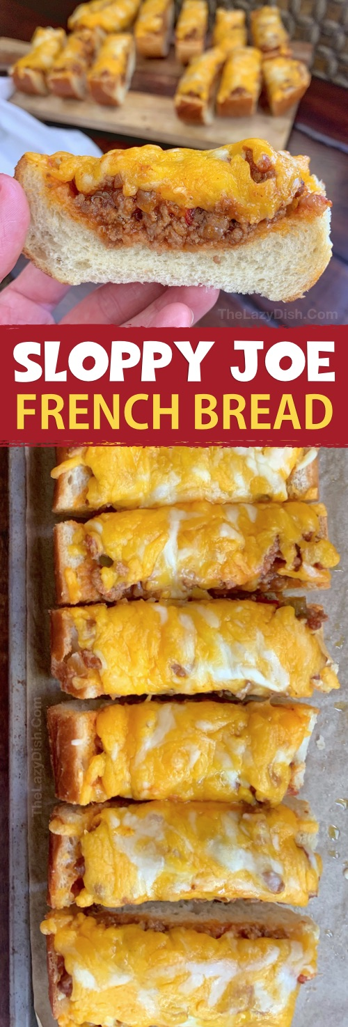 Sloppy Joe French Bread Slices - This super quick and easy appetizer or snack idea is made with just 5 simple ingredients! It's cheap, tasty and a real crowd pleaser! You can also serve it for lunch or dinner with a side salad. The Lazy Dish #thelazydish
