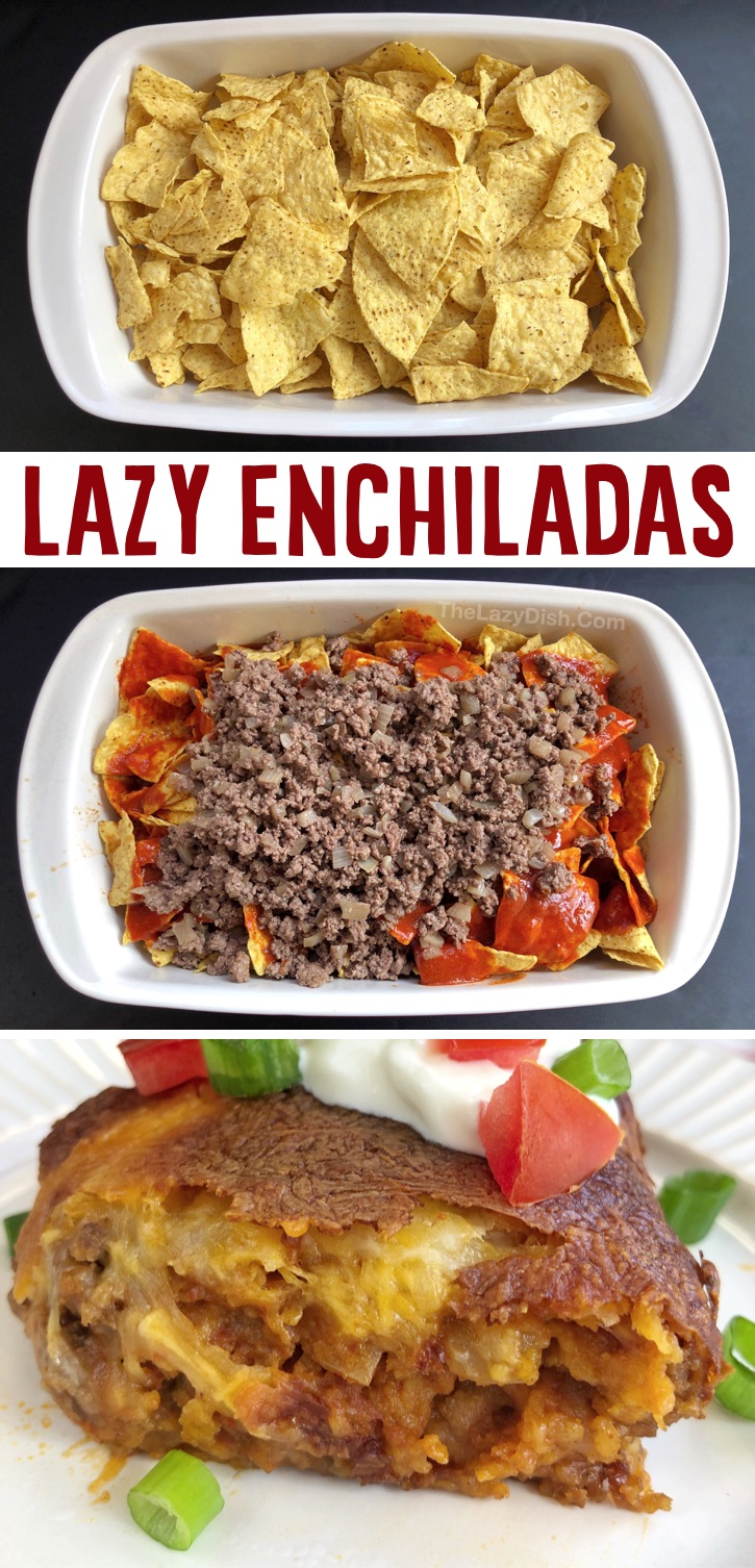 Easy Ground Beef Enchilada Family Dinner Casserole - If you're looking for quick, easy and yummy dinner ideas, your search ends here! This enchilada casserole is a whole lot of fun to make for the family, and even your picky eaters will dig in. There's something so exciting to me about all of these simple ingredients mixed up together and then baked to perfection. It may look like a mess, but it tastes just like enchiladas! This easy family dinner recipe definitely feeds a crowd. It's perfect for large families, but it's just as good leftover.