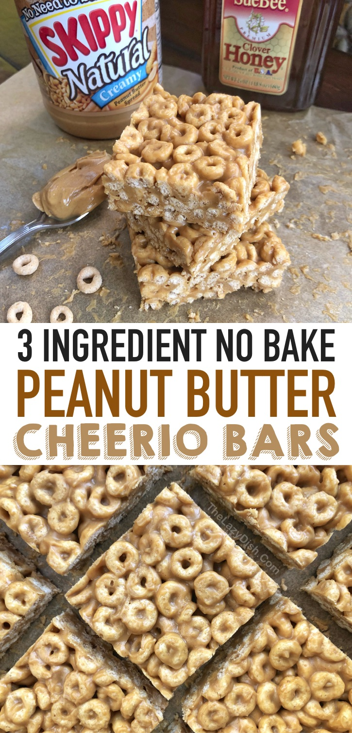 Looking for quick and easy snack ideas for kids? These 3 ingredient no bake cheerio bars are always a hit! Your toddlers and teens will love them, and they are made with just a few healthy and cheap ingredients that you probably already have in your pantry. They are great for on the go, the school classroom, lunchboxes, after school, and more. Children and adults love this simple snack recipe! Made with just Cheerios, peanut butter and honey. #snackideas #kids #thelazydish #3ingredients