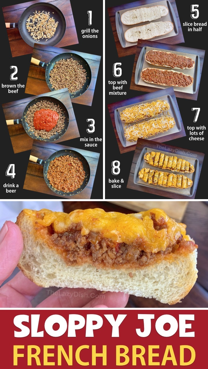 Looking for game day snacks and appetizers? This quick and easy sloppy joe french bread recipe is always a hit! It's made with just 5 simple and cheap ingredients. Can't wait for football season to start! #thelazydish #gameday #football #partyappetizers