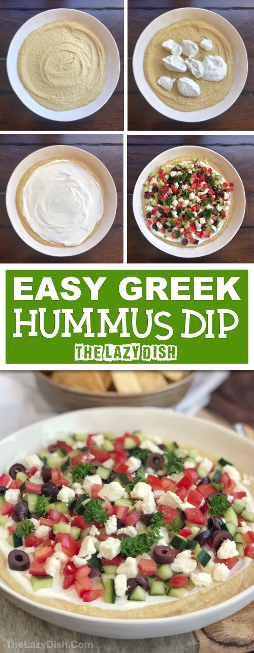 7 Layer Greek Dip Appetizer | Looking for quick and easy cold appetizers for a crowd? This simple dip recipe can be made ahead, and is always a hit! It's perfect for a party or even healthy snack. Serve it with pita chips! The Lazy Dish #thelazydish #lazyfood