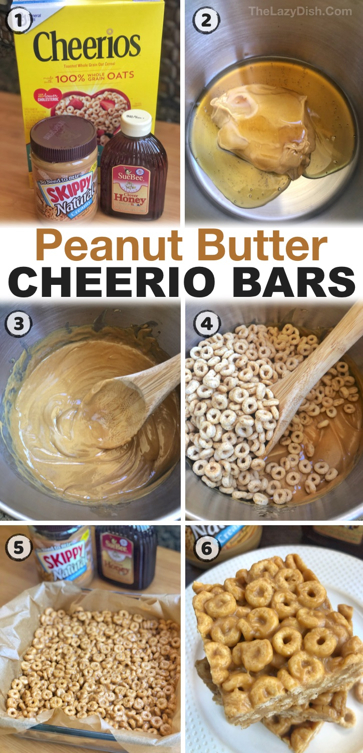 My kids love these peanut butter cheerios bars! They are such a quick and easy snack idea that's super cheap and fun to make with just 3 ingredients: peanut butter, honey and Cheerios. No baking required! They are great for on the go at sports practice, at school, or as a simple after school snack or even treat after dinner. Great for kids of all ages! Teens to toddlers. If you're looking for easy snack ideas for kids, you've got to try these no bake peanut butter cheerio bars.