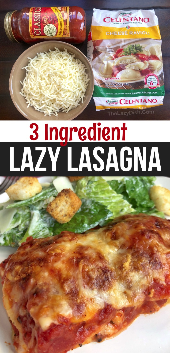 A quick, easy and cheap dinner idea the entire family will love! Pleasing everyone at dinner time isn't easy, especially when you have picky eaters. We all tend to like different things, which is why eating out is so much fun. However, I have found this meal to not only be the EASIEST dinner recipe I've ever made, but it's always a hit. Your kids are going to love it! It's so simple to make with just a few budget friendly ingredients: frozen ravioli, shredded cheese and pasta sauce. So yummy!