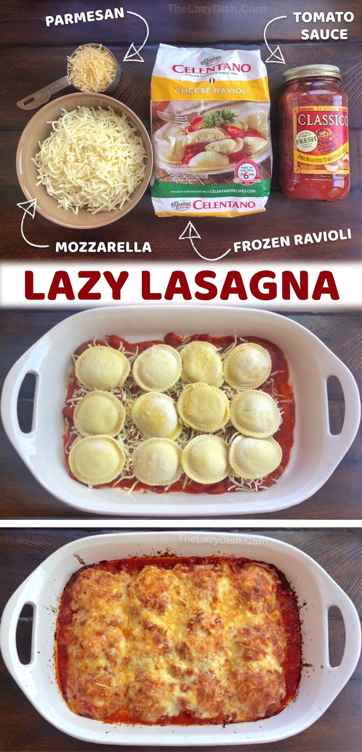 A.K.A. Lazy Lasagna - Looking for quick and easy dinner recipes for a family with picky kids? This simple weeknight meal is made with just 4 cheap ingredients including frozen ravioli, red sauce and cheese. Kids and adults love this easy dinner idea (including your picky eaters and hungry husband). Everything is dumped into ONE PAN and baked. It's vegetarian, but you can also add ground beef or sausage to the layers, or veggies to make it healthy! Budget friendly, no prep, just dump and bake.