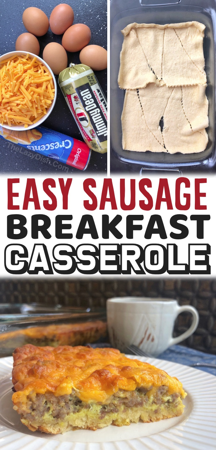 Quick & Simple Breakfast Ideas: If you have a large family and are looking for fun and easy breakfast recipes, you've got to try this sausage breakfast casserole! It's made with just 4 ingredients: Pillsbury crescent rolls, ground sausage, eggs and cheese. That's it! So cheap and easy to make even on busy mornings. My kids and husband love it. You could also add some veggies like peppers or spinach to the mix to make it healthy-- easy to customize! Great for special occassions and holidays.