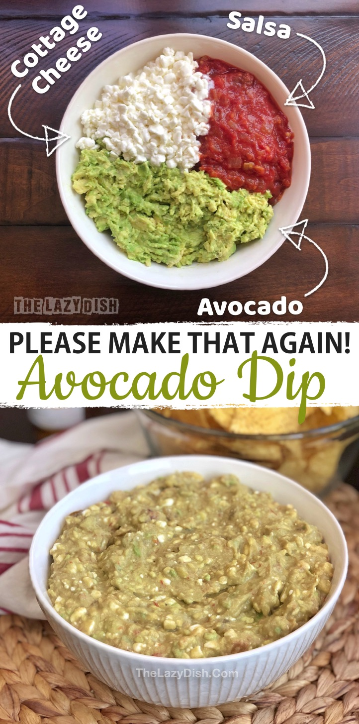 Quick and easy cold party dip appetizer for parties! This easy party food recipe is made with just 3 ingredients: avocado, salsa and cottage cheese. The BEST party food for a crowd on a budget! Serve with tortilla chips. Kids and adults love this simple make ahead party appetizer idea. | The Lazy Dish #partyfood