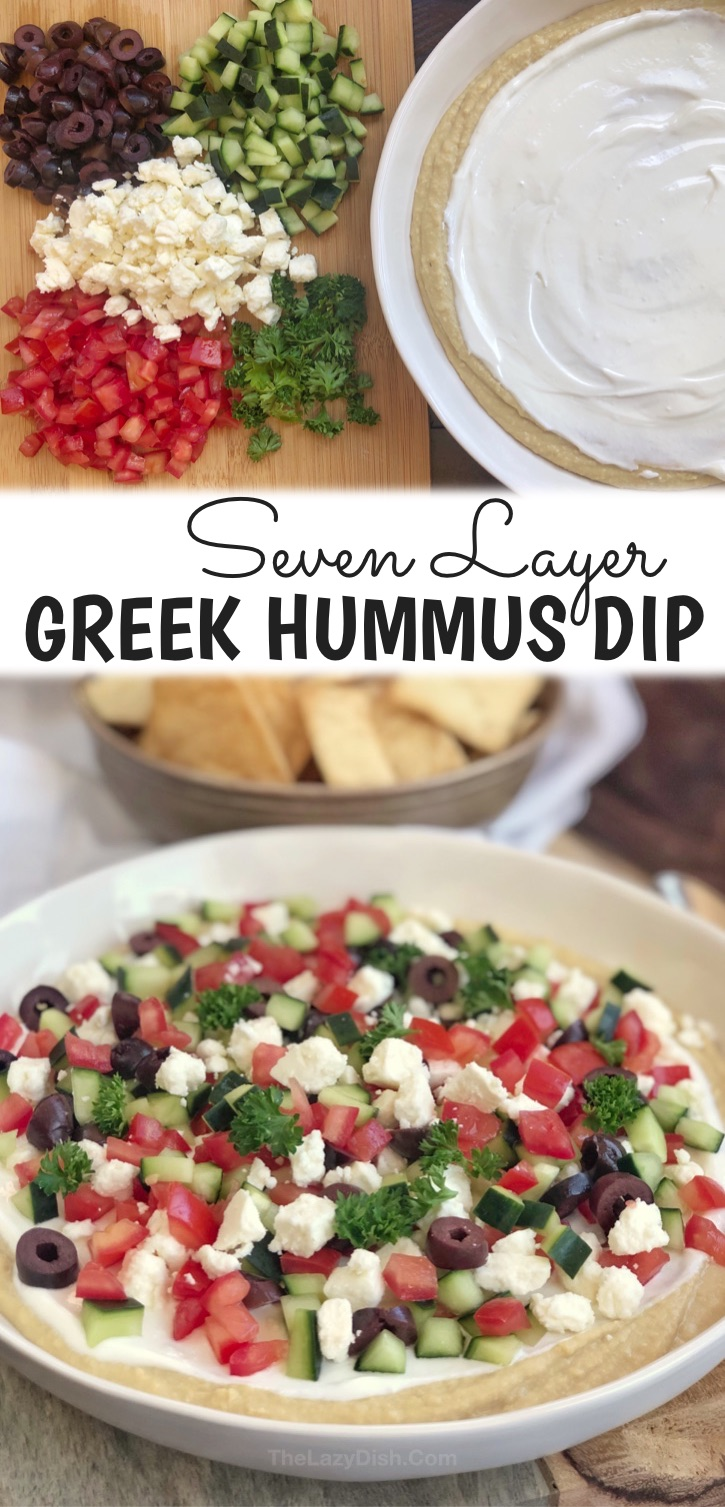 This super easy appetizer is my favorite recipe to throw together last minute! Who doesn't love a cold make ahead party dip that is suitable for just about every occasion? It's super quick and easy to make! The only sort-of difficult part is chopping up the fresh veggies and herbs (5 minutes), but that can be done the day before if you're that short on time. Delicious AND healthy don't always go together in the same sentence, but this simple party dip is the exception. Serve with pita chips!
