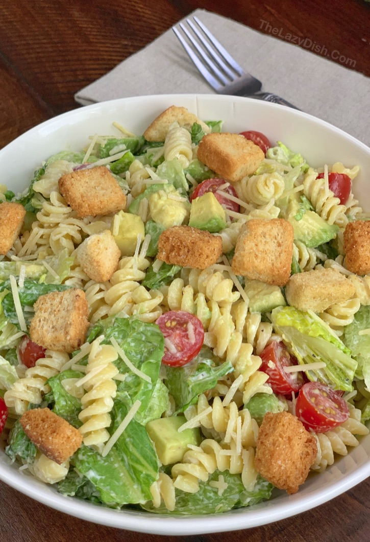 Easy pasta salad idea! Pasta and Avocado Caesar Salad Recipe