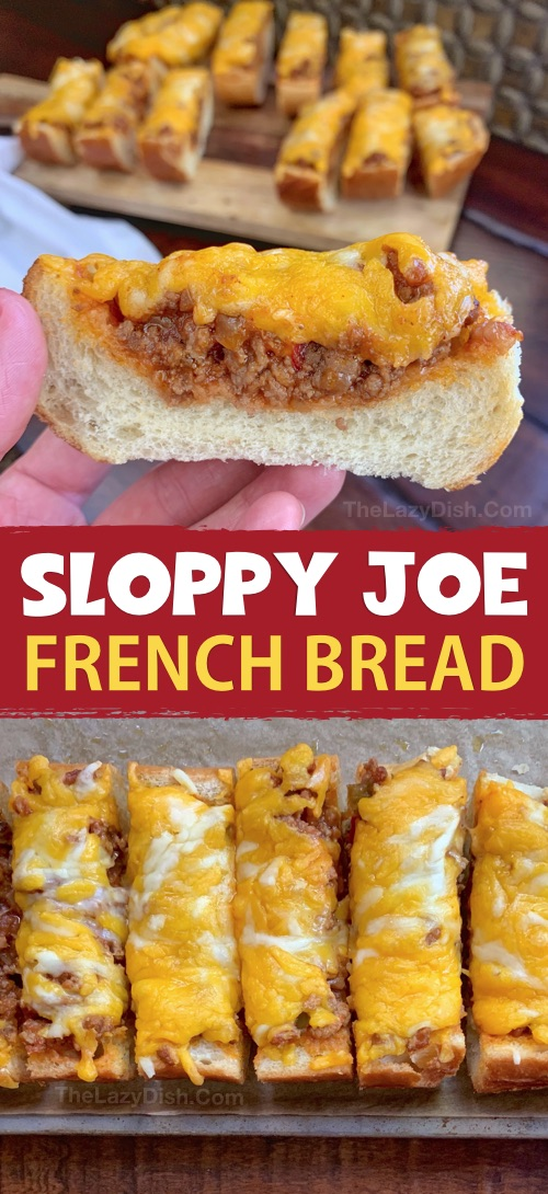 Sloppy Joe French Bread Slices - This super quick and easy appetizer or snack idea is made with just 5 simple ingredients! It's cheap, tasty and a real crowd pleaser! You can also serve it for lunch or dinner with a side salad. The Lazy Dish #thelazydish #gameday #footballparty #sloppyjoe #appetizers