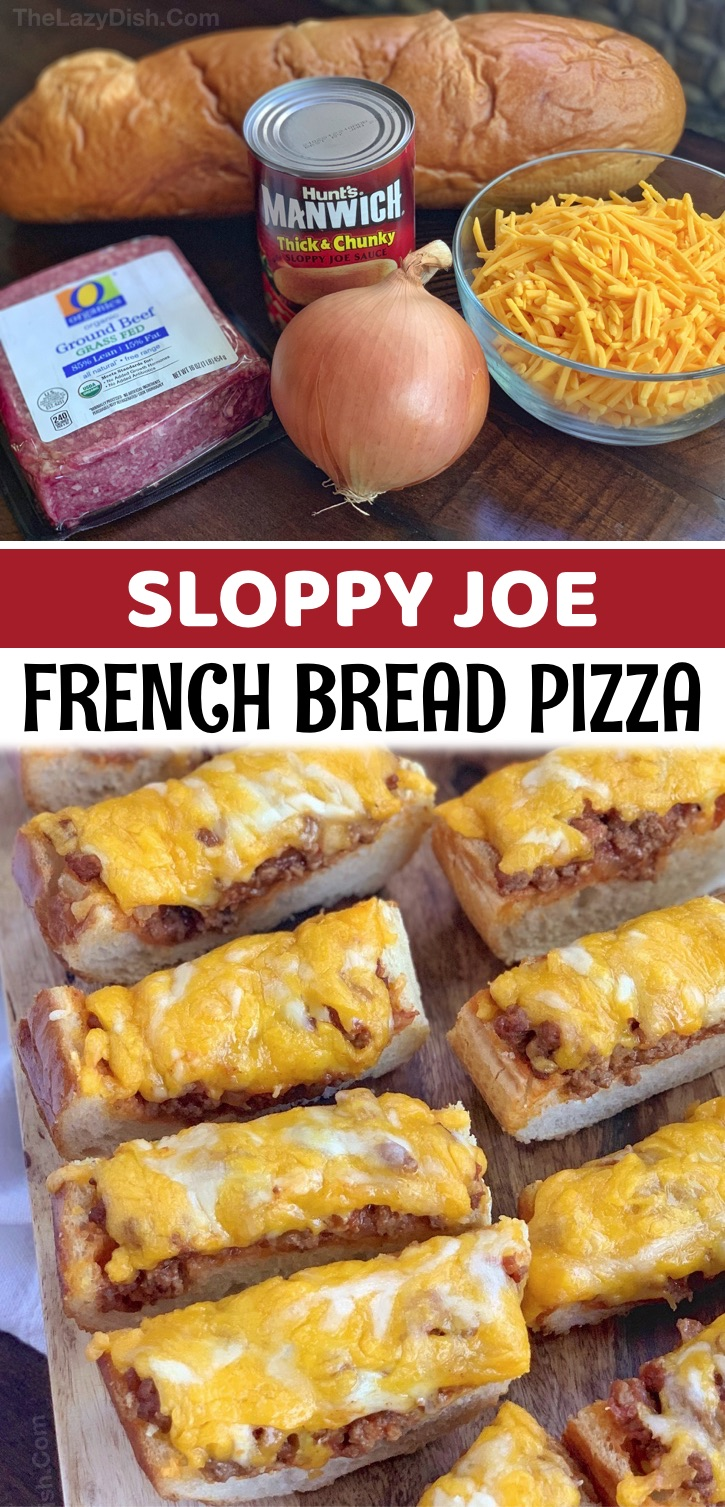 Sloppy Joe French Bread Pizza Slices - This quick and easy recipe is made with just 5 simple ingredients: french bread, ground beef, sloppy joe sauce, cheese and diced onions. Bake in the oven, slice, and watch it disappear! It's obviously great for big appetites, which is why I like to serve this as an appetizer for a football party, game day or any gathering with cheese and meat lovers. It's also a tasty snack for Sundays at home. Kids and adults love it! Serve it with a salad to make it a complete meal for dinner, too.
