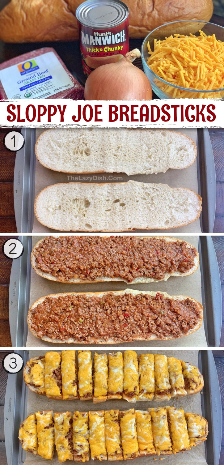 These sloppy joe breadsticks are perfect as a game day appetizer, snack idea or even comforting dinner recipe! Definitely a crowd pleaser, and super quick and easy to make with just a few ingredients: ground beef, onion, canned sloppy joe sauce, cheddar cheese and bread. Serve it with a salad if you're making it as a meal. Great finger food for a party, though. Husband approved! Perfect for a football party or lazy Sunday at home with the family. Some serious comfort food.