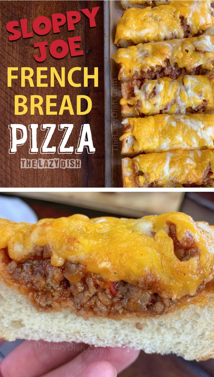 Sloppy Joe French Bread Slices - This quick and easy appetizer or snack idea is made with just 5 simple ingredients! It's cheap, tasty and a real crowd pleaser! You can also serve it for lunch or dinner with a side salad. The Lazy Dish #thelazydish #gameday #footballparty #sloppyjoe #appetizers #groundbeef