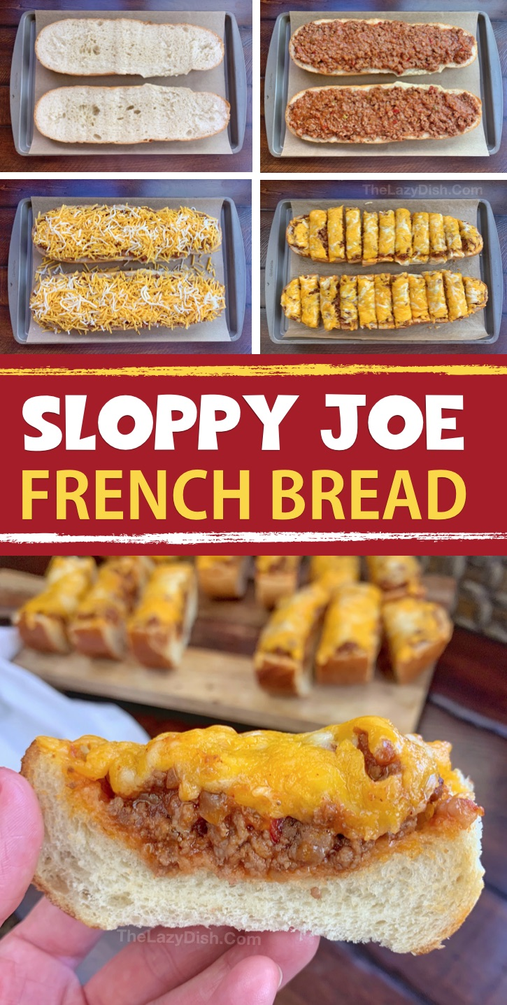 Easy Sloppy Joe French Bread Pizza - This super quick & easy finger food snack idea is made with just 5 simple ingredients! It's cheap, tasty and a real crowd pleaser! You can also serve it for lunch or dinner with a side salad. The Lazy Dish #thelazydish #gameday #footballparty #sloppyjoe #appetizers #groundbeef