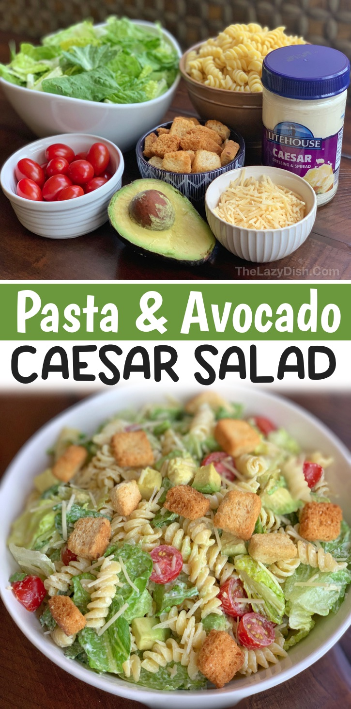 Looking for vegetarian dinner recipes for your family? This pasta and avocado caesar salad is super yummy, healthy and filling! It's also really quick and easy to make on busy weeknights. Great for meatless monday! Even my kids love it. Once the pasta is cooked and chilled, this salad takes less than 5 minutes to throw together. I just use a good quality store-bought caesar dressing to make it quick and simple. If you're on the hunt for vegetarian meal ideas, add this to your dinner calendar.
