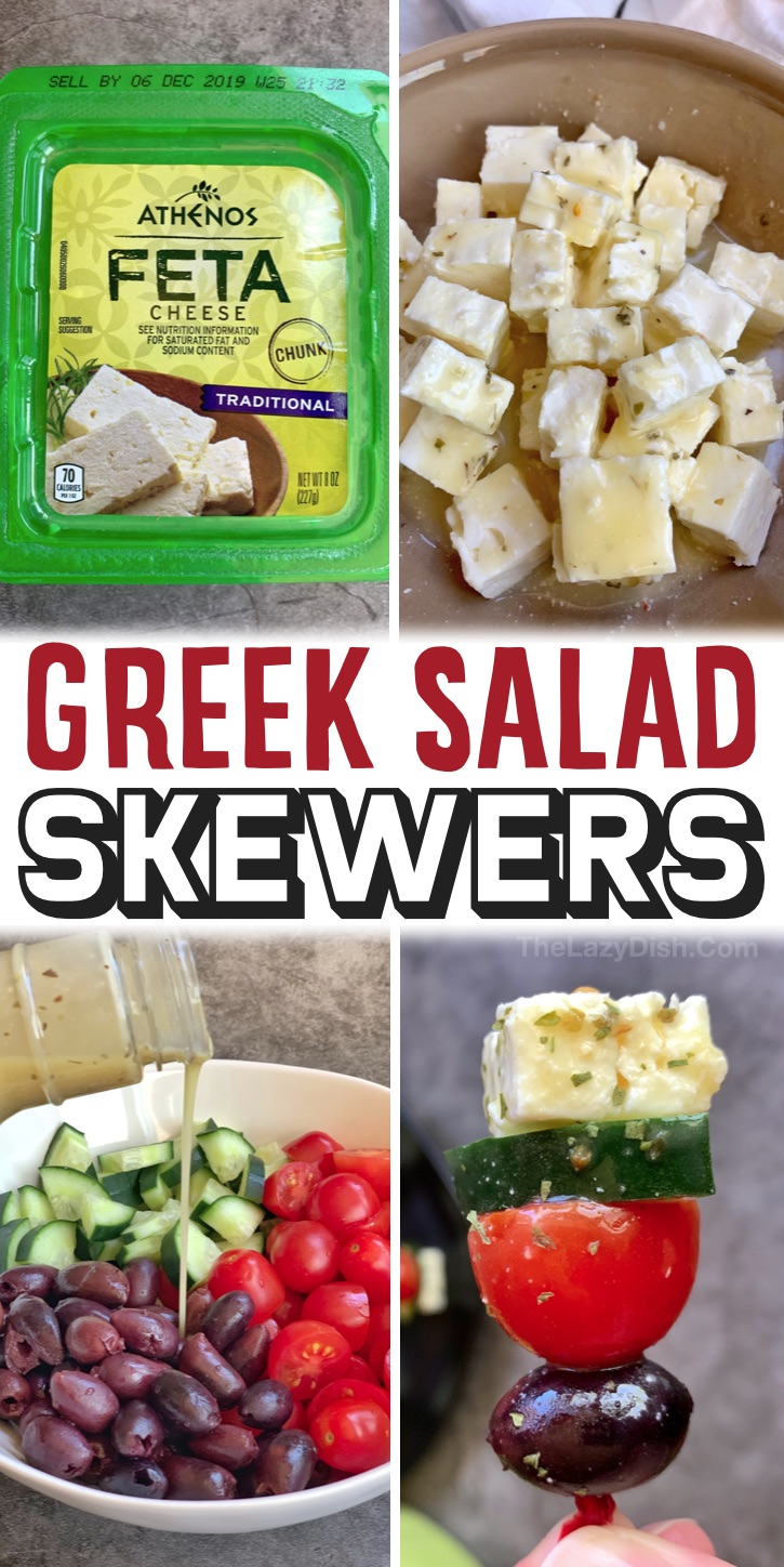Greek Salad Skewers - Having a party or family get together and looking for easy party appetizers? These greek salad skewers are so simple to make with just a few ingredients! The best thing about these skewers is that they are absolutely delicious, but they are also served cold and can be made ahead the day before.  Yay! Great for parties, celebrations, holidays and more. The best finger food! Super healthy, too. A fabulous vegetarian appetizer for any party. Real crowd pleasers!