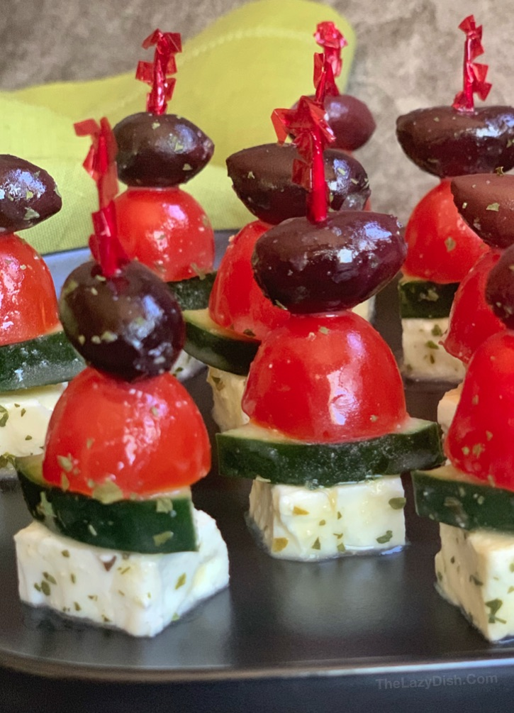 Easy Greek Salad Skewers Party Appetizer -- perfect for a crowd and can be made ahead of time!